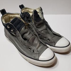 Gray leather Converse men 9 women 11